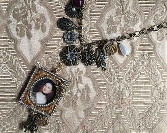 Steampunk Fantasy Victorian Renaissance Framed Portait and Assemblage Pendant Necklace