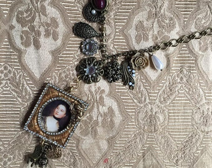 Featured listing image: Steampunk Fantasy Victorian Renaissance Framed Portait and Assemblage Pendant Necklace