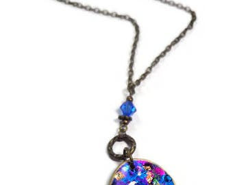 Paisley Necklace Chakra Statement Necklace polymer clay Pendant Swarovski Crystal Necklace Dichroic Necklace Gifts for Her