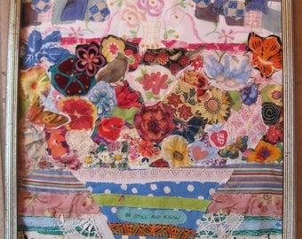 be still & know - Flowers  Birds Butterflies - Folk Art Fabric Collage - Vintage Materials Patchwork Assemblage -  myBonny Random Scraps