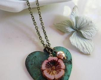 Patina Heart Necklace, Pink Flower, Long Brass necklace, Botanical, Verdigris Patina, Bohemian, Vintage Style Necklace, Gardendiva