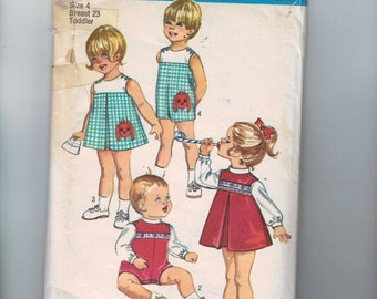 1970s Vintage Sewing Pattern Simplicity 9128 Boys Girls Dress or Romper with Inverted Pleat Size 4 Breast Chest 23 1970s 70s 1970