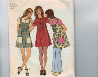 1970s Vintage Sewing Pattern Simplicity 5063 Misses Mini Smock Dress Bohemian Festival Size 8 Bust 31 1/2 70s 1972