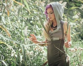 New! LOTUS HOODIE VEST - Cropped Waist coat - Hippie Boho Bohemian Pixie Faery Fairy Fantasy Costume Cosplay Burning man Gypsy Goa - Grey