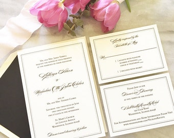 Traditional Wedding Invitation - Formal Wedding Invitation - Thermography