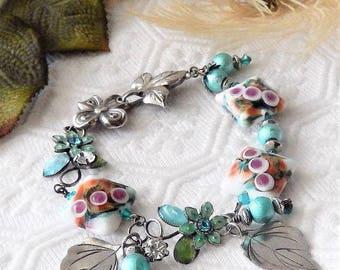 Sale......One of a Kind Sterling Silver, Lampwork Glass, Enamel and Swarovski Crystal Bracelet