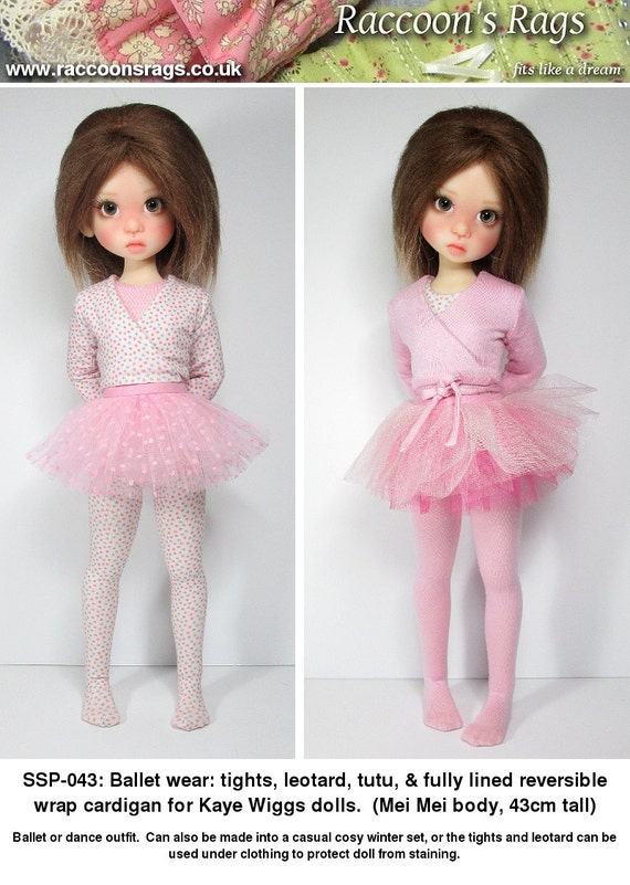 """STRAIGHTFORWARD SEWING Pattern SSP-043: """"ballet"""" outfit for Kaye Wiggs dolls.  (43cm Mei Mei) Tights, leotard, cardigan and tutu."""