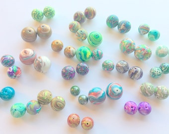 Huge Collection of Handmade Artisan Beads Polymer Clay Round Bead 24 Pairs or 48 Beads