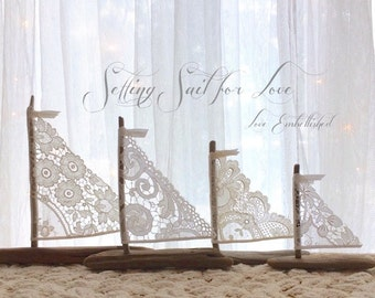 4 Beautiful Driftwood Beach Decor Sailboats Antique Lace Sails Bohemian Inspired Romance Seaside Lakeside Cottage Wedding Made to Order