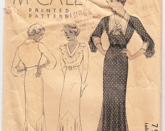 """Vintage Sewing Pattern 1930's Ladies' Dress McCall 7915 Size 38"""" Bust - Free Pattern Grading E-book Included"""