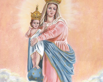 """Our Lady of Victory Original, OOAK Acrylic Painting, 15 3/4"""" X 19 3/4"""" Canvas Catholic Art Signed and Ready to ship"""
