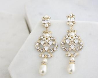 Gold Bridal Earrings Chandelier Wedding Earrings Golden Shadow Swarovski Crystal Art Deco Bridal Jewelry NICA