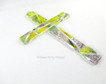 Fused Glass Cross Sun Catcher Wall Décor Yellow Iris