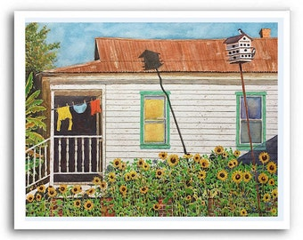 Shotgun Sunflower House Art Prints Signed and Numbered