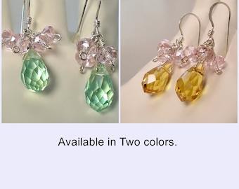 Glass Cluster Earrings Wire wrapped in Sterling Silver; Green Brown Pink Earrings; Short Dangle Earrings; Reward Yourself; workplace jewelry