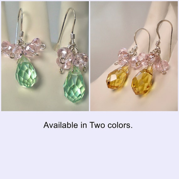 Glass Short Cluster Earrings - Light Green And Pink - Light Brown And Pink - Dangle - Handcrafted