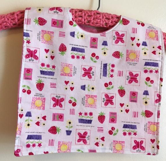 Bib for baby or Toddler - Pink Garden print