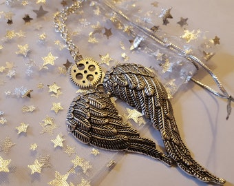 Steampunk Inspired Angel Wings Gear Cog Necklace