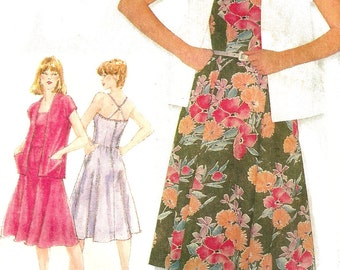 1980s Dress Pattern Sundress Unlined Jacket Flared Skirt Vintage Uncut Sewing Women's Misses Size 12 Bust 34 Inches