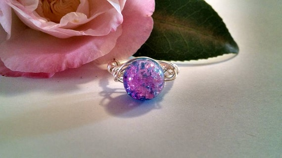 Pink and Blue Irridescent Glass Bead White Wire Wrapped Ring Size 8 Unique Handmade Jewelry Gifts for Her Fun Unique Ring Best Friends