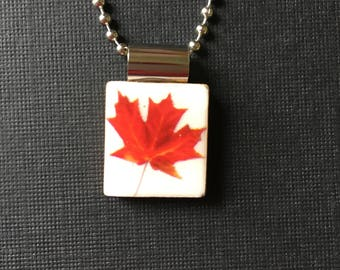 Red Maple Leaf Scrabble Tile Pendant, Handmade and recycled scrabble tile jewelry, Fall leaf pendant, maple leaf necklace, nature jewelry