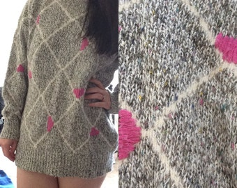 Adored Addition ... Vintage oversized rainbow confetti sweater knit top tunic