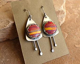 Yellow Blue Rose Rainbow Calsilica in Sterling Silver Modern Tribal Dangle Earrings . Rustic Boho Tribal Style Jewelry