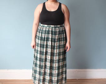 plus size skirt | green plaid broomstick maxi skirt | 1990s XL