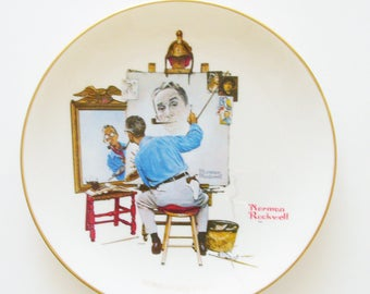 "Vintage Norman Rockwell ""Triple Self Portrait"" Plate / 1984 Memorial Plate  / Gorham Fine China  / Unique Gift Under 50"