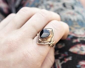 AVA, Black Tourmaline Ring, Raw Stone Ring, Black Stone Ring, Boho Ring, Hippie Ring, Gypsy Ring, Black Medieval Ring, Game Of Thrones Ring