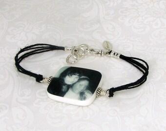Black Hemp Cord Bracelet with Photo Charm - Medium - P2RB12