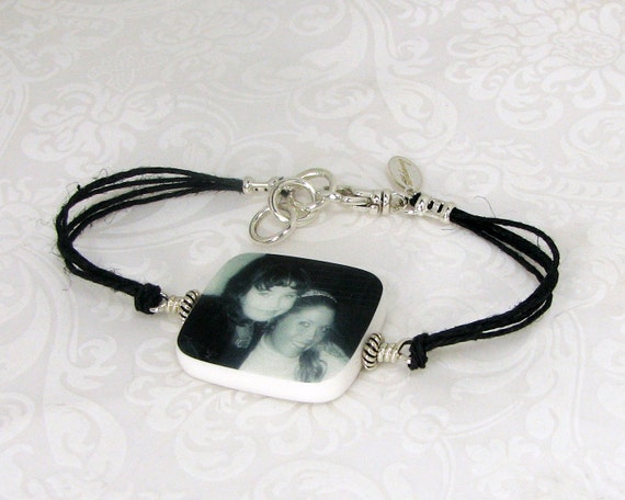 Black Hemp Cord Bracelet with Photo Charm - Medium - P2RB12