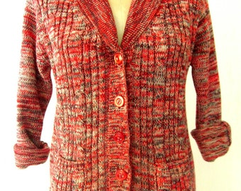 70s Cable Knit Sweater / 1970s Sweater / 70s Cardigan / Red SPACE DYED Sweater