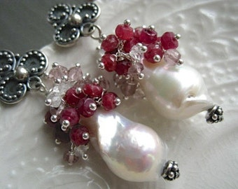 Baroque Pearl and Precious Gemstone Earrings-Peppermint