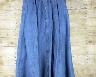 Vintage Blue Denim Midi Skirt Misses 8 S Chauss Sport