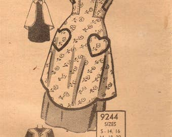 1940s Mail Order 9244 Vintage Sewing Pattern Misses Full Apron, Bib Apron, Scallops, Hearts Size Small
