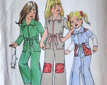 Simplicity 7277 Vintage 70's Sewing Pattern, Child's/Girls' Jumpsuit, Size 6, Retro 1970's Fashion