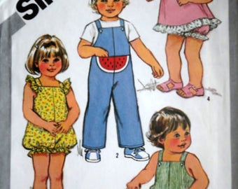 Vintage 80's Simplicity 5469 Sewing Pattern, Toddlers' Jumpsuit & Rompers, Pullover Sundress and Panties, Size 2, Uncut FF, 1980's Kids