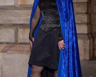 Medium Bright Blue Velvet Cloak