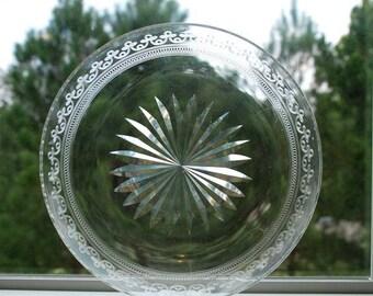 Vintage Etched Starburst Glass Bowl Dish Europe