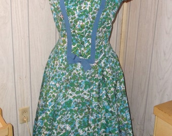 1950s Vintage Blue Green Abstract Print Cotton Dress with Petticoat 36 Inch Bust