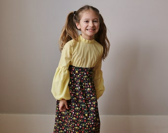 1970s Cocoa Floral Maxi Dress >>> Size 5t/6