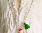 Santa Necklace. Christmas Necklace. Girls Christmas Necklace. Childrens Jewelry. Holiday Necklace. Childrens Necklace. Kitsch Kids Necklace