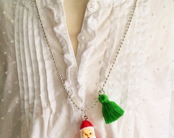 Santa Necklace. Christmas Necklace. Girls Santa Necklace. Kids Gift. Childrens Jewelry. Girl Gift. Holiday Necklace. Childrens Necklace.