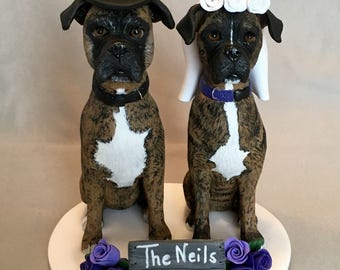 Custom Made Dog Wedding Cake Topper Clay Sculpture Boxer Boxers Brindle Bride Groom Flowers Barn wood sign