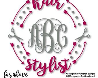 Hair Stylist Scissors Monogram Wreath Arrows (monogram NOT included) - SVG, DXF, png, jpg digital cut file for Silhouette or Cricut