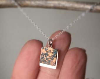Copper Necklace/ Copper Patina Necklace/ Copper Patina/ Square Necklace/ Necklace/ Patina Necklace/ Patina Copper Necklace/ Copper Jewelry