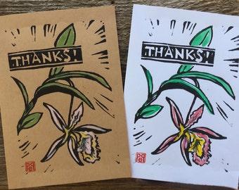 Thanks Orchid Notecard, hand-made linocut artist print