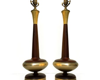 Pair of Mid Century Sculpted Wood and brass Table Lamps