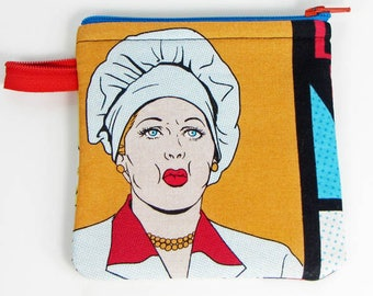 I Love Lucy,credit card case,coin purse,cosmetic bag,zippered pouch, padded makeup bag,jewelry pouch, gift bag,handmade